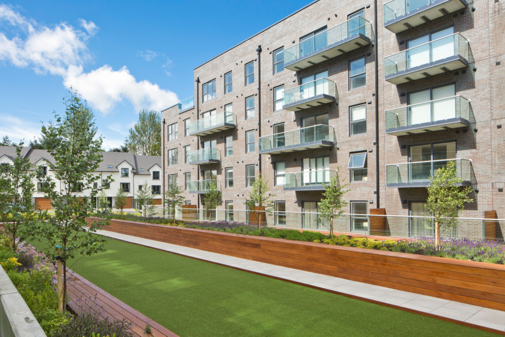 Landscaped communal gardens at Forbes Place, Aberdeen
